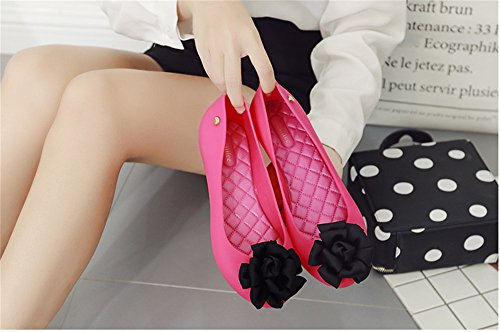 Shoes pit4tk for Ballet Flower Women Plus Women Lady Size red Shoes Flat black Flats Jelly Beach xqrA7qnXwU