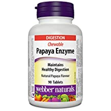 Webber Naturals Papaya Enzymes with Bromelain and Amylase Chewable Tablet (Packaging May Vary)
