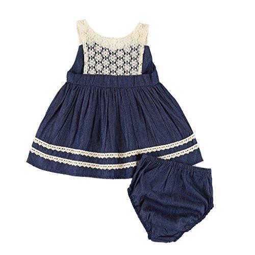 Smocked Cupcake (MIOIM Infant Girls Princess Dress Set 2pcs Toddler Newborn Baby Girls Lace Crochet Denim Tutu Dress)