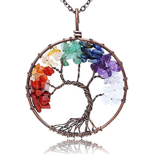 KISSPAT Tree Of Life Pendant Necklace Handmade Gemstone With 26