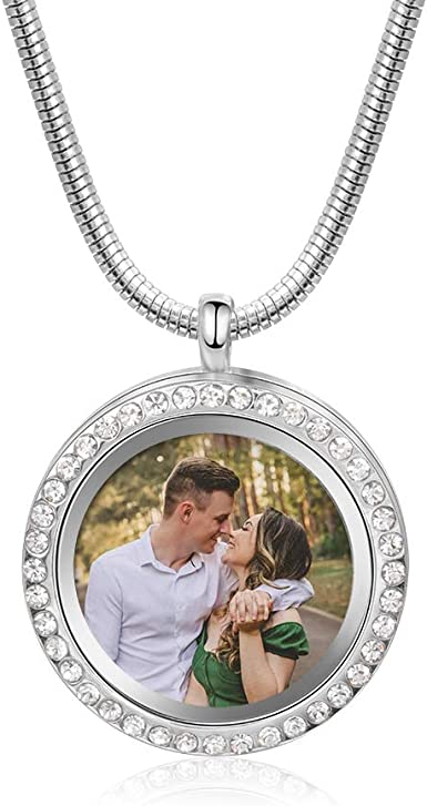 Engrave Your Monogram Yellow or Rose Gold Overlay Photo Locket Engravable Heart Locket Necklace Data eor Name in Sterling Silver