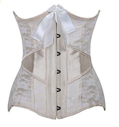Blidece Women's Steel Bone Lace Overlay Corset Bustier Waist Training Cincher Bodyshaper With G-String White XL