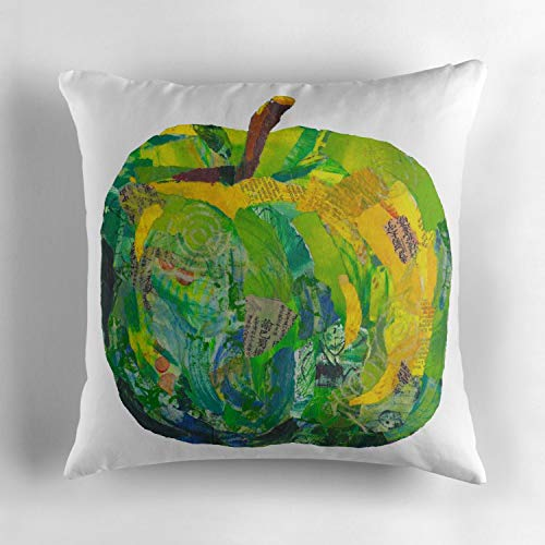 Cushion Cover Throw Pillow Case Slipover Pillowslip for Home Sofa Couch Chair Back Seat 18x18 Inch Double-Sided Printed Cotton (Green Apple in Mixed Media Collage No Background)