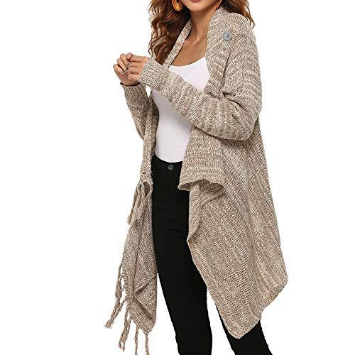 Womans Shawl Vintage Long Sleeves Slouchy with Fringe Long Cardigan Knited Pullover Sweaters 2 wear Style Beige S