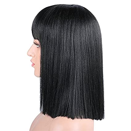 Amazon.com: Fani 14 Inch Wigs Bob Wig with Flat Bangs For Women Yaki Straight Synthetic Wigs for Black Women Daily Wigs With Free Wig Cap: Beauty