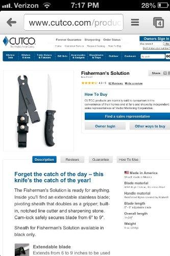 CUTCO Model 5721 Fisherman's Solution and sheath by Cutco