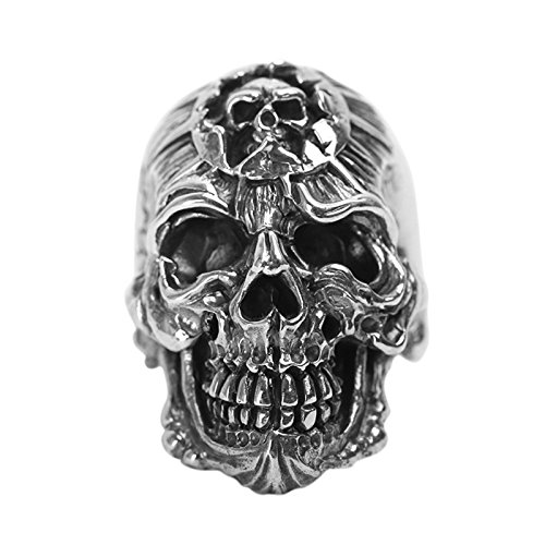 Beydodo Mens Silver Ring, Skull Ring Size 9 Men Rings Hip Hop by Beydodo