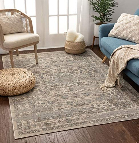 Well Woven Ophelia Vintage Beige Blue Distressed Oriental Medallion Area Rug 9×13 8 9 x 12 5
