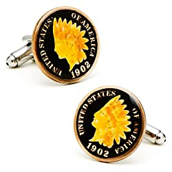 Hand Painted Black Indian Head Penny Cufflinks Novelty 1 x 1in