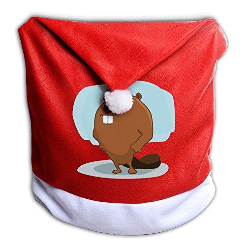 New York Christmas Dinner - Santa Clause Red Hat Chair Back Covers For Christmas Dinner Decor Judian New York Mascot Beaver Smile