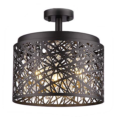 Wtape Vintage 3 Light Crystal Black Finish Semi-Flush Mount Ceiling Light, Lighting Fixture with Metal Shade for Living Room Bedroom Dining Room Hallway (Finish Black Flush Mount)