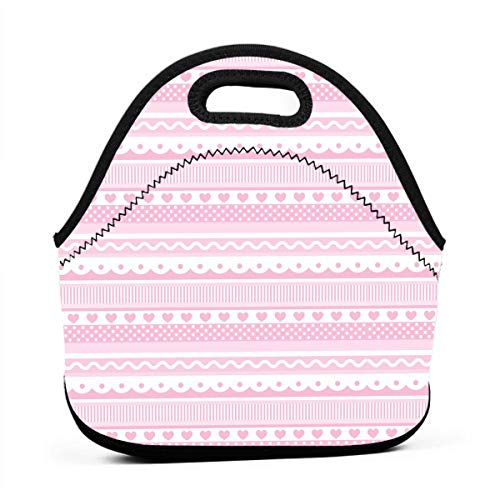 LKJDAD Pink Corrugated Heart Lunch Bag, Thick Insulated Lunchbox Bags,Tote Box with Zipper Closure for Kid Travel Picnic Office