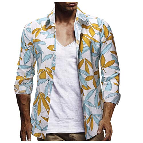 Simayixx Beach Clothing Men's Light Weight Button Shirt Hippie Beach Yoga Tops Print Palm Trees Blouses Holiday Clothes ()
