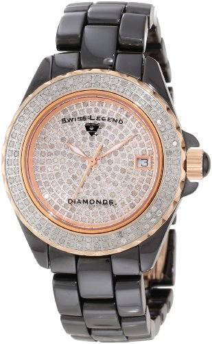 Swiss Legend Women's 20052-WBKR Diamonds Pave Diamond Dial Gunmetal Ceramic Watch