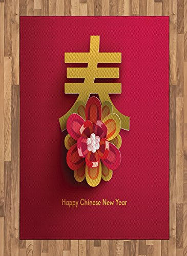 ambesonne chinese new year area rug lunar festival theme with a flower motif and chinese