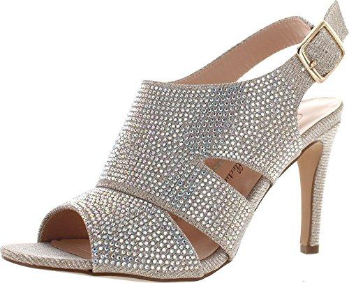 De Bloesem Collectie Womens Parijs-4 Prachtige Glitz Jurk Partij Sandalen Schoenen Naakt Glinstering
