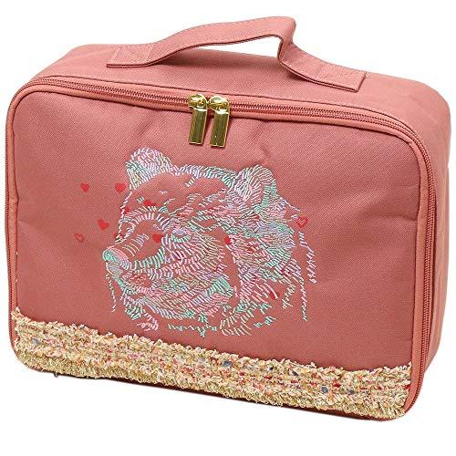 [해외][エレウ 나 ラ?プレ] 동물 자 수 속옷 케이스 핑크 / [Eleu Nani] animal embroidery underwear case Pink