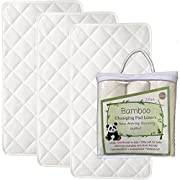 NEW ANTI SLIP - Larger - 27  x 14  - Bamboo Changing Pad Liners - 4 Layers - Quilted- 3 Pack - Ultra Soft - Highly Absorbent - Machine Washable, Dryer Friendly