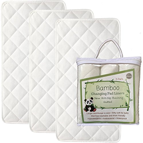 "NEW ANTI SLIP - Larger - 27"" x 14"" - Bamboo Changing Pad Liners - 4 Layers - Quilted- 3 Pack - Ultra Soft - Highly Absorbent - Machine Washable, Dryer Friendly"