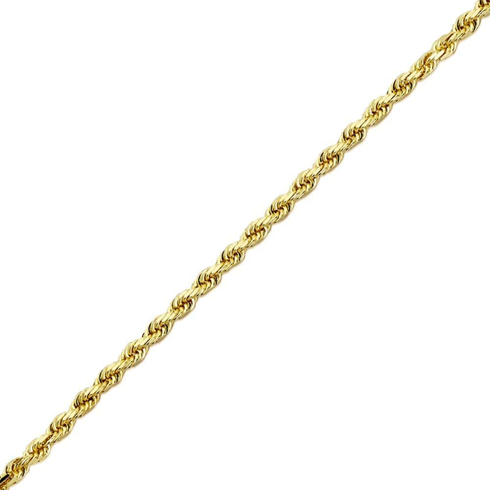 AFJewels 10K Solid Yellow Gold Diamond Cut 3 mm Rope Chain 24 for Men Women