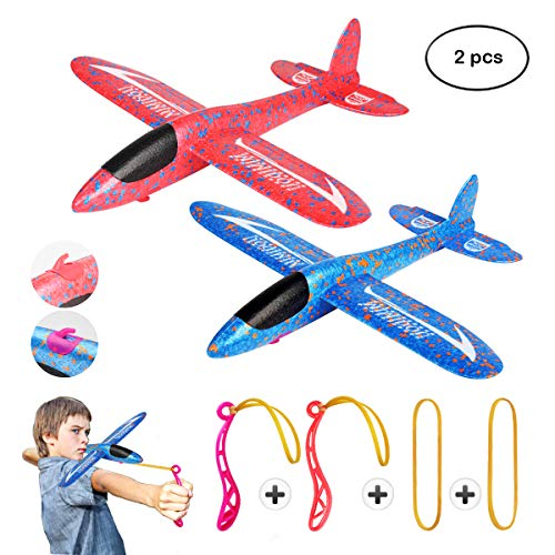 MIMIDOU New Aerobatic Slingshot Plane 2 flight mode 2 pack glider airplane throwing foam aircraft outdoor sports flying toy for kids as gift,by ()