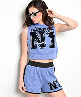 247 Frenzy Women's Navy 'I Wanna Be' Hooded Crop Tee & Athletic Shorts (2 Piece Set) (Small)
