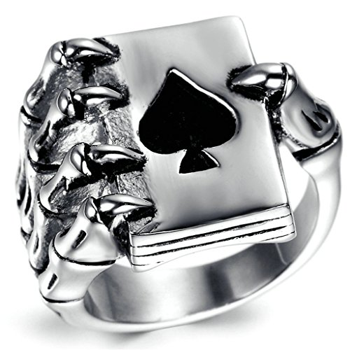 Stainless Steel Ring for Men, Pocker Claw Ring Gothic Black Band Silver Band 1521MM Size 13 - Glasses Kardashian Khloe
