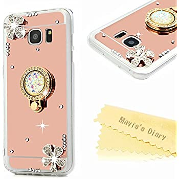 Galaxy S7 Edge Case - 3D Handmade Special Pink Mirror Design Cover with Shiny Glitter Diamonds Gems Flowers 360 Rotating Rose Ring Kickstand Luxury Soft TPU Case by Mavis's Diary