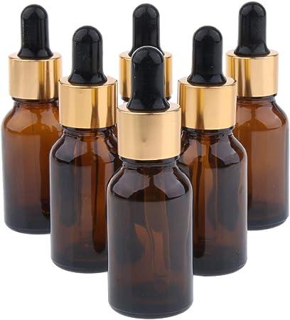 sharprepublic 6x Bouteilles Flacon de Parfum avec Compte-gouttes Pipettes pour Voyage 10 ml