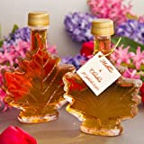 Maple Syrup Favors, 100ml Leaf by Mansfield Maple (Set of 24 Bottles)