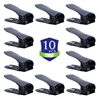 CHAIRLIN Shoe Organizer,Shoe Space Saver Organizers,Shoe Storage Saving,Adjustable Shoes Slots Shoe Rack Set Shoe Holder 10PCS Black