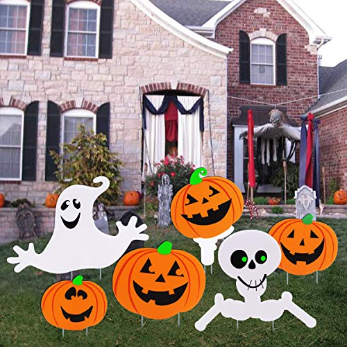 Cute Happy Halloween Logo (AOBUY Halloween Decorations Outdoor,Cute Pumpkin Ghost Corrugate Yard Signs Outdoor Halloween Yard Decorations Pack of)