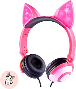 Kids Headphones,Snowwicase - Wired Headphones for Kids,with LED Glowing Cat Ears Headphones,Foldable Over-Ear Gaming Headsets for Kindle/iPad/Children/Teens/Boys/Girls (Rose)