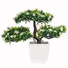 JAROWN Artificial Plant Pine Bonsai Tree Nearly Natural for Home Office Decoration (White)