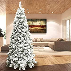 BAKAJI Albero di Natale INNEVATO Bianco 210 cm Ecologico, Base a Croce in Ferro, 668 Rami innesto ad uncino, Aghi Anti Caduta, Foltissimo 11 spesavip