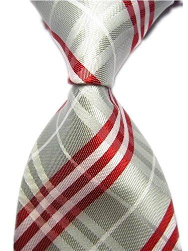 Allbebe Men's Classic Checks Green Black Jacquard Woven Silk Tie Necktie (One Size, silver red) - Executive Bow Top
