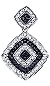 Diamond Pendant 10kt White Gold Black Colored Concentric Square 1/3 Cttw(I2/i3, i/j)