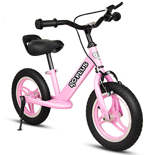 Goplus Balance Bike Kids No-Pedal Learn to Ride Adjustable Height with Bell Ring and Stand for Ages 2 to 6 Years Pre Bike Push Walking Bicycle (Pink(Without Bell))