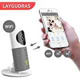 LAYGUDRAS Clever Dog Wireless WiFi Camera Smart Baby Monitor Support P2P Night Vision Record Video Two-Way Audio Motion Detected iOS/Android Tablet/Smartphone(Adapter Inside) (Grey)
