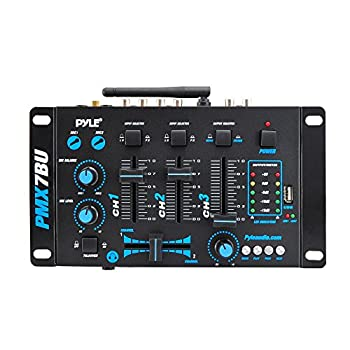Pyle Pmx7bu Bluetooth 3-channel Dj Mp3 Mixer, Mic-talkover, Usb Flash Reader, Dual Rca & Microphone Inputs, Headphone Jack 3