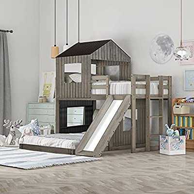 Buy Klmm Bunk Bed For Kids Toddlers Twin Over Full Bunk Beds With Slide Playhouse Farmhouse Roof Window Guardrail Ladder For Girls Boys Antique Gray Online In Indonesia B08m9ysth7