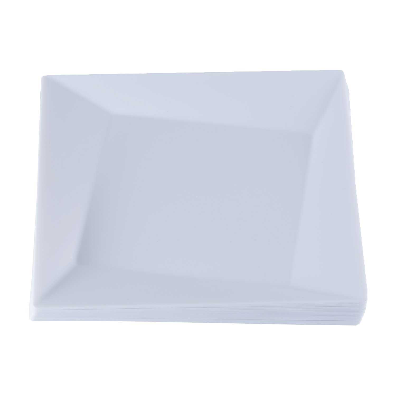Party Essentials 20-Count Hard Plastic 9.5'' Twisted Square Lunch/Dinner Plates, White