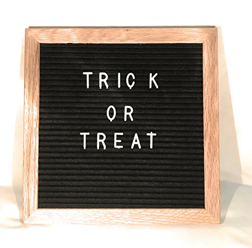 10 x 10 Premium Oak Framed-Changeable Letter Boards-By A+ Industries-Mounting Hook-Black Felt-290 White Letters-Vintage Marquee Oak Frame Sign-Holiday Home Decor-Halloween Signs (10 Letter Halloween Words)