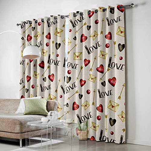 Window Antimicrobial Envelope (Window Blackout Curtains Golden Envelope and Red Love Curtains Darkening Thermal Insulated Curtains for Living Room Bedroom Window Drapes Set of 2 Panels-40 x84)