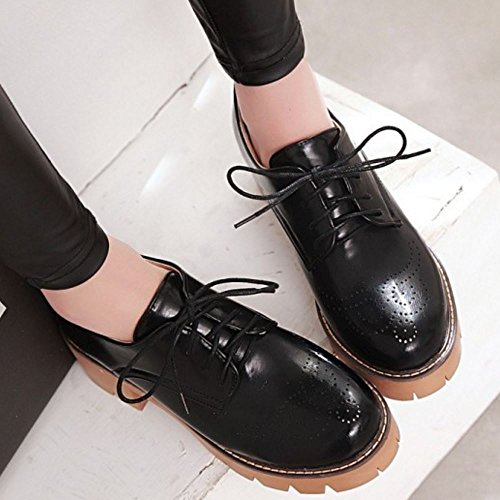 Donna Casuale Black Brogue Scarpe Zanpa vd5wpv