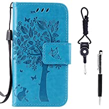 "Motorola Moto X Play Case, SsHhUu Premium PU Leather Folio Wallet Magnetic Stand Card Slot Flip Protective Slim Cover Case + Stylus Pen + Lanyard for Moto X Play (5.5"") Blue"