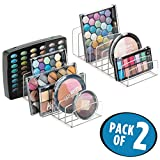 mDesign Makeup Organizer for Bathroom Countertops, Vanities, Cabinets: Sleek Modern Cosmetics Storage Solution for - Eyeshadow Palettes, Contour Kits, Blush, Face Powder - 9 Sections, Pack of 2, Clear