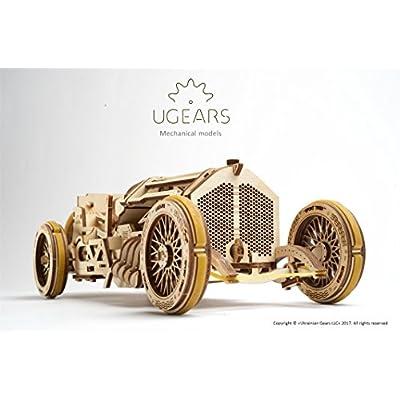 Ugears 70044 U 9 Grand Prix Modellino Auto Da Corsa Con Motore E Manovella In Legno