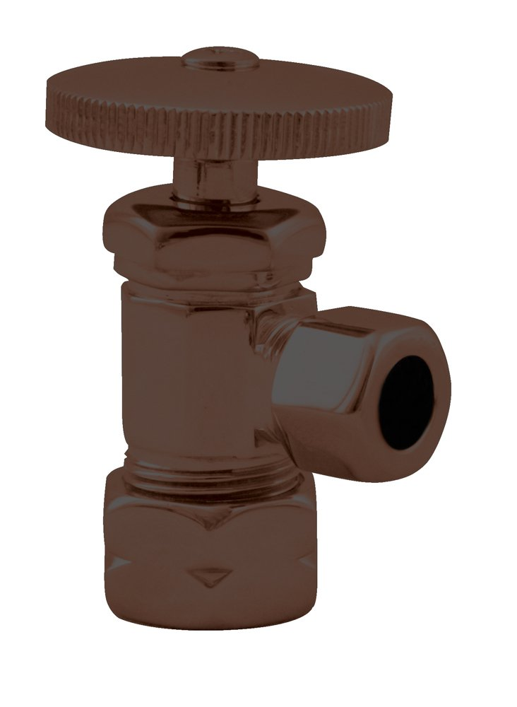 Westbrass Round Handle Angle Stop Shut Off Valve, 1/2'' Copper Pipe Inlet with 3/8'' Compression Outlet, Oil Rubbed Bronze, D105-12