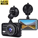 Dash Cam, Dashboard Camera with Full HD 1080P, Car DVR Driving Recorder with WDR, 170 Degree Wide Angle, 3 LCD, Loop Recording, G-Sensor, Night Vision